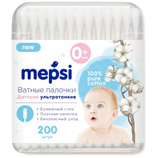 Mepsi Ватные палочки детские, ультратонкие, 200 шт.