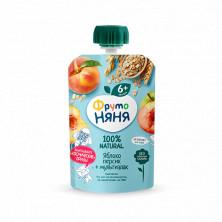 ФрутоНяня Пюре изиз яблок и персиков  + Мультизлак, 90 гр - без сахара