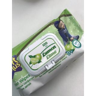 Soft Plus влажные салфетки для детей, без спирта, 120 шт, 0мес+, Лимон Лайм