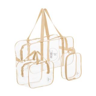 ROXY-KIDS Сумка в роддом прозрачная для беременной, 3 шт в комплекте от ROXY-KIDS БЕЖЕВАЯ