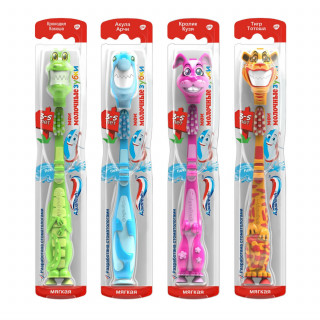 Aquafresh Аквафреш Мои молочные зубки, зубная щетка для детей от 3 до 5 лет (синяя и зеленая)