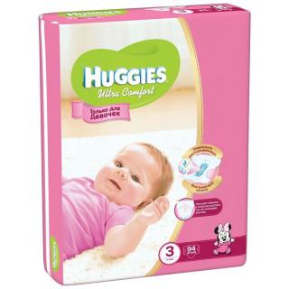 Huggies Подгузники Ultra Comfort для девочек р3 5-9кг 94шт Хаггис