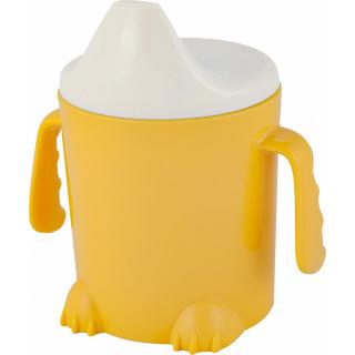 Lalababy Детский поильник, с ручками, твердый носик, 300 мл,  желтый