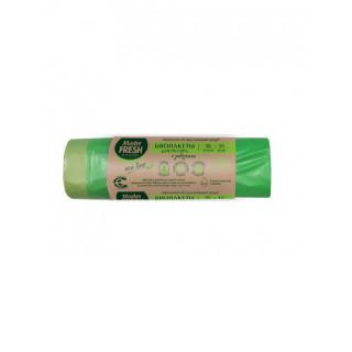 MASTER FRESH  Биопакеты для мусора с завязками 35л 15шт биоразлагаемые (салатовые)