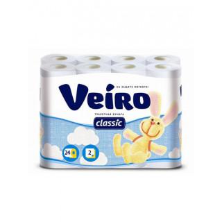Veiro  Бумага туалетная Veiro Classic белая 2-слойная 24 рулона