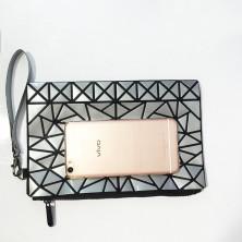 iron style Косметичка с геометрическими формами: серебро, оранжевая