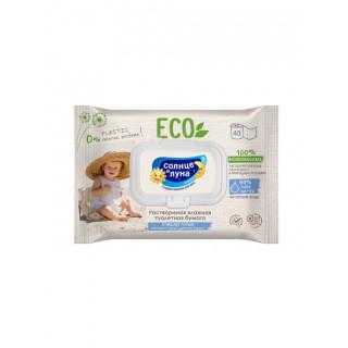 СОЛНЦЕ И ЛУНА  Влажная туалетная бумага растворимая ECO big-pack с крышкой 40шт