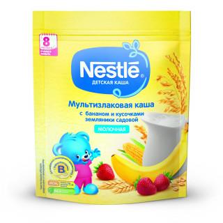 Nestle Каша Мультизлаковая банан и кусочки земляники садовой, 8мес+, 220 гр