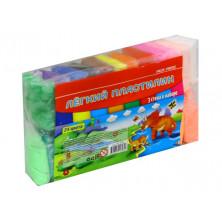 Пластилин легкий 24 цвета со стеками Mazari