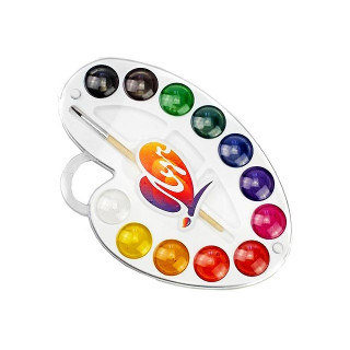 Краски 12 цветов акварель с кистью Луч Палитра