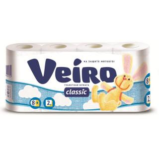 Veiro Туалетная Бумага 2-слойнная 8 шт  Белый