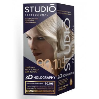 STUDIO PROFESSIONALY пепельный блондин Стойкая крем-краска для окрашивания волос 90.105 2x50-15мл  Комплект 3D HOLOGRAPHY