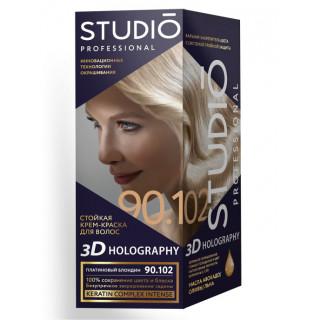 STUDIO PROFESSIONALY платиновый блондин Стойкая крем-краска для окрашивания волос 90.102 2x50-15мл  Комплект 3D HOLOGRAPHY