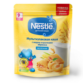 Nestle Каша Мультизлаковая с медом и кусочками абрикоса, 9мес+, 220 гр