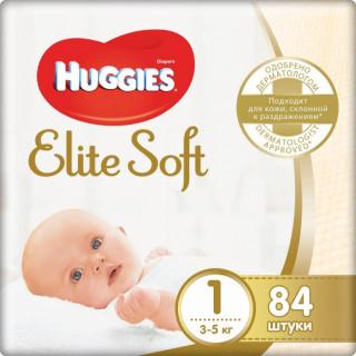 Huggies Подгузники Elite Soft 1 (3-5кг) 84 шт (Хаггис)