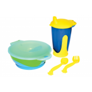 Бусинка Набор детской посуды (тарелка-контейнер, поильник с носиком, ложка, вилка)