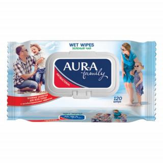 Aura FAMILY влажные салфетки «Зеленый Чай», антибактериальные, 120 шт