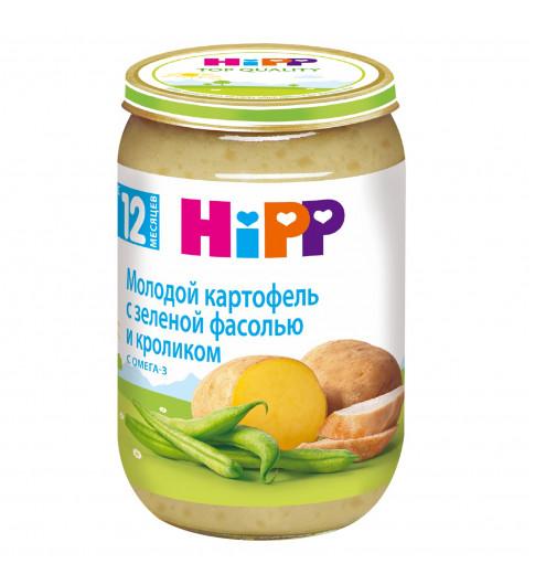 Hipp Мясное пюре Картофель и стручковая фасоль с кроликом, 12 мес+, 220гр Хипп